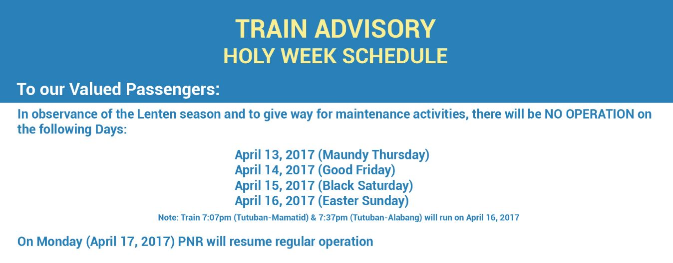 list mrt lrt pnr release holy week 2017 schedule