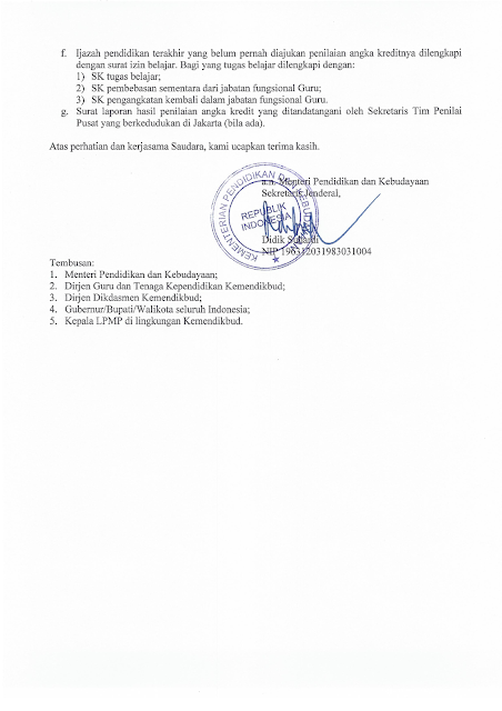Surat Resmi Kemendikbud Pengusulan Penilaian Angka Kredit Guru Golongan IV/b Ke Atas