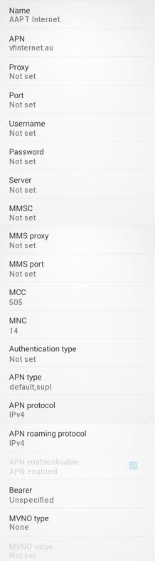 AAPT APN Settings for Android