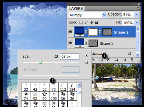 Add Layer mask to layer with Vector mask.  Activate Brush tool (B), right click and choose brush tip