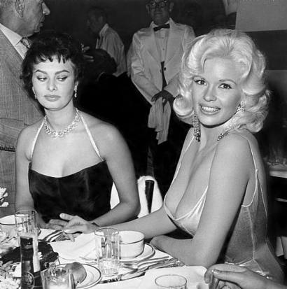 Sophia Loren Looking at Jayne Mansfield