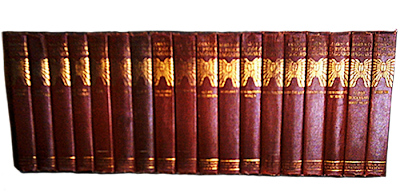 A large set of leather bound vintage hard-backs in matching bindings.