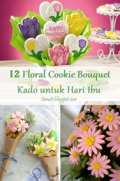 12 Kue Kering Bentuk Buket Bunga (Floral Cookie Bouquet)
