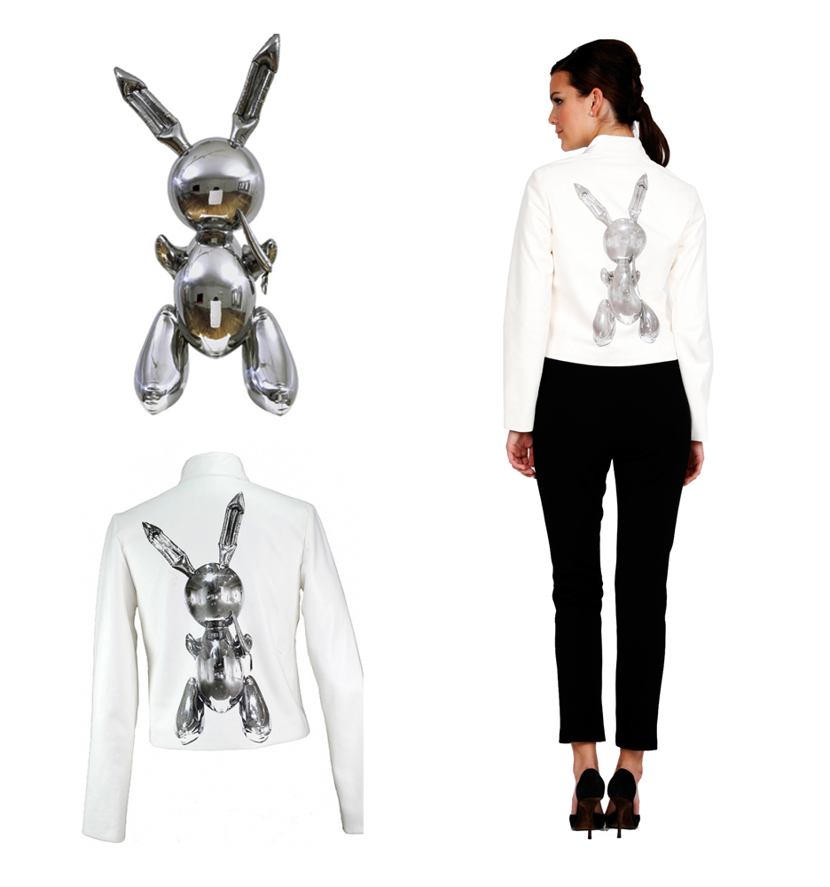 Rabbit, Stainless Steel Sculpture by Jeff Koons and Bunny Jacket by Lisa Perry