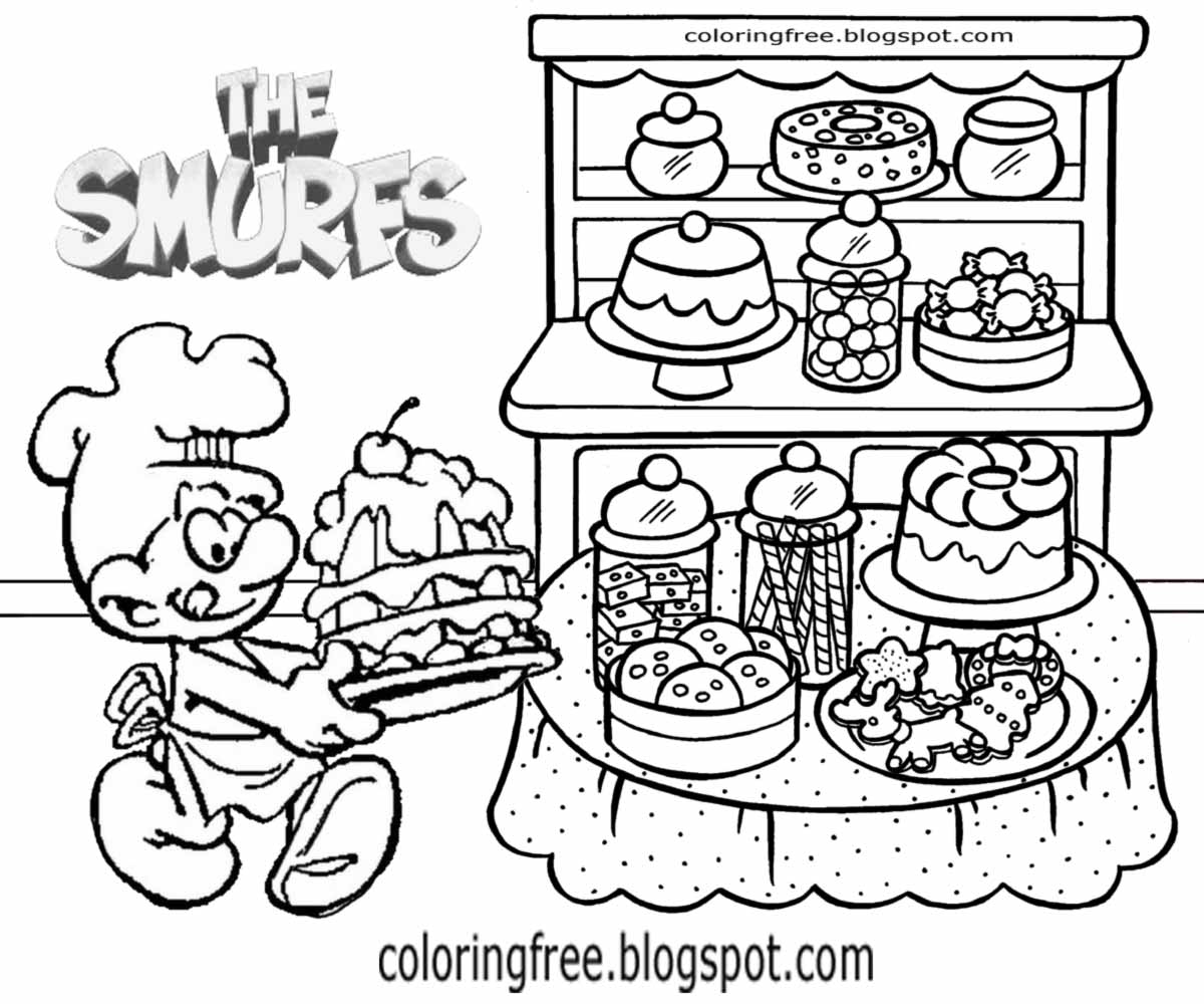 Co coloring book shop - Bread Making Baker Smurf Cake Shop Colouring Pages For Teenage Girls Smurfs Co Facebook Characters
