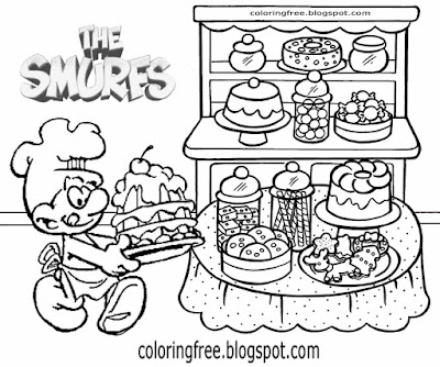 Bread making Baker Smurf cake shop colouring pages for teenage girls Smurfs & Co Facebook characters