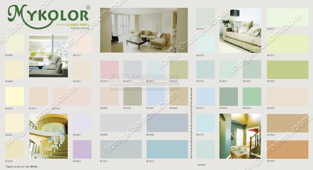 Bảng màu sơn nội thất Mykolor