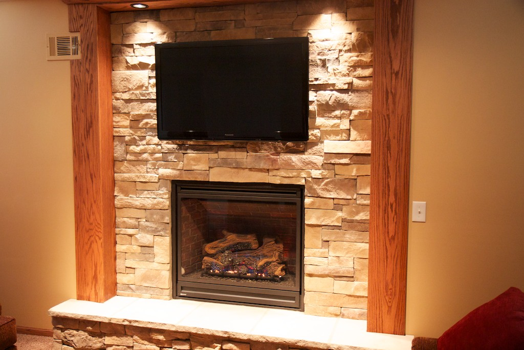 Pics For > Stone Fireplace With Built In Tv