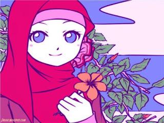 kartun animasi muslimah imut memegang bunga