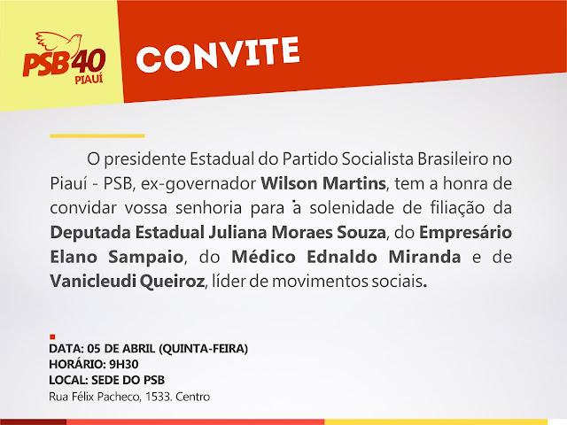 PSB Piauí filia deputada Juliana Moraes Souza e novas lideranças nesta quinta (5)