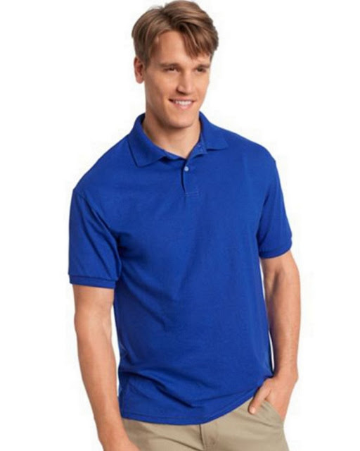 Hanes 054X Mens Comfortblend Jersey Polo - Deep Royal – S
