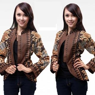Model Baju Batik Kombinasi Bolero Lengan Panjang