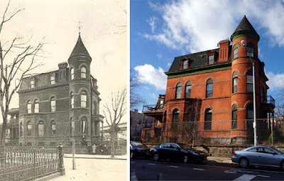 Red brick Mansion on street corner black and white historic photo and recent color photo comparison