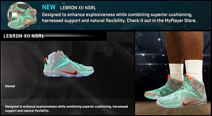 NBA 2K15 Nike LeBron 12 'NSRL' Shoes