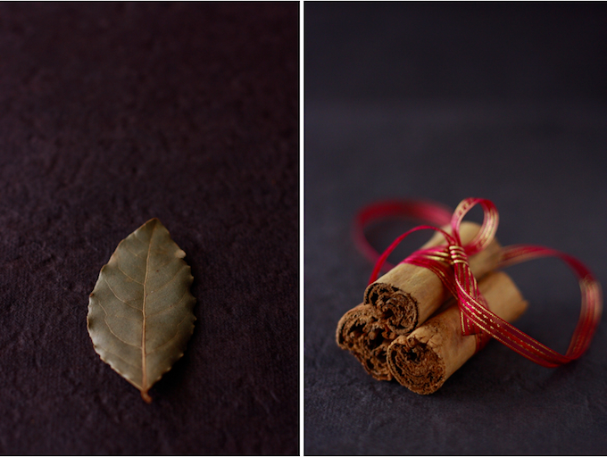 ceylon cinnamon and bay leaf spices for christmas mulled red wine