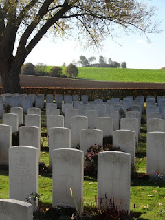 Warlencourt British Cemetery with the Butte in the background, taken by Kevin Richardson