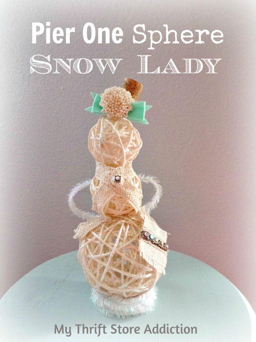 Sassy Snow Lady / Repurposed Pier One Spheres / mythriftstoreaddiction.blogspot.com