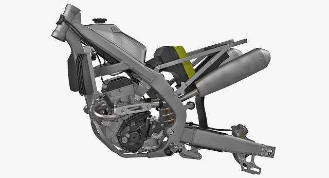 Motorcycle chassis carrying engine