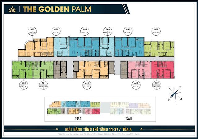 Mặt bằng tầng 11-27 tòa A The Golden Plam