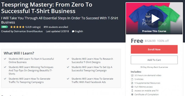 [100% Off] Teespring Mastery: From Zero To Successful T-Shirt Business| Worth 124,99$