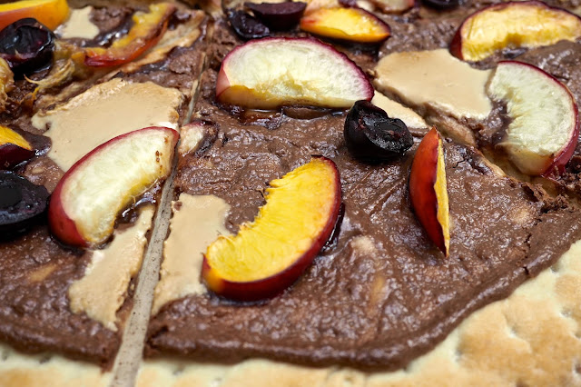 close up of chocolate and nectarine pizza