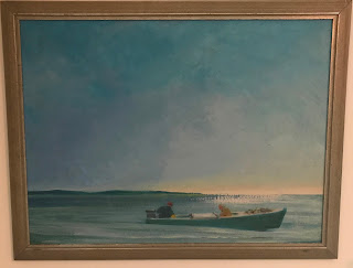 Maine Maritime Painting by Francis Quirk,   Boat in an Ocean, Quirk Artist, Maine Painter