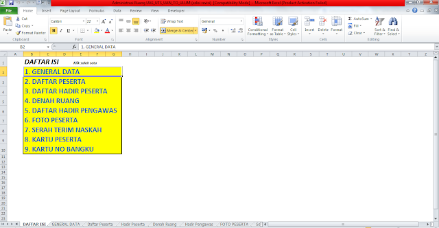Administrasi Excel Ruang UAS UTS, TRY OUT DAN ULANGAN UMUM
