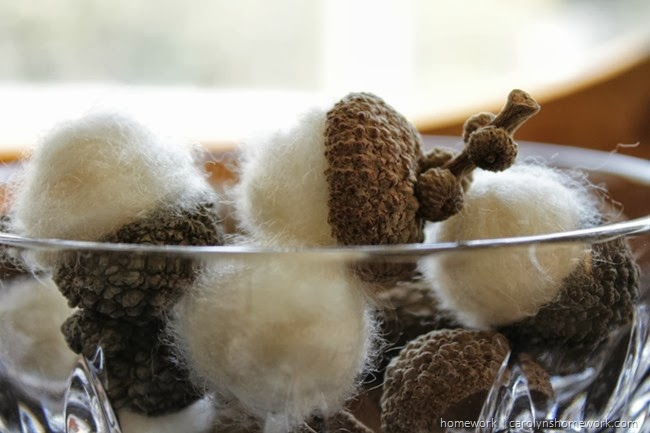 Perfect fall decor felted acorns - diy without wool or water