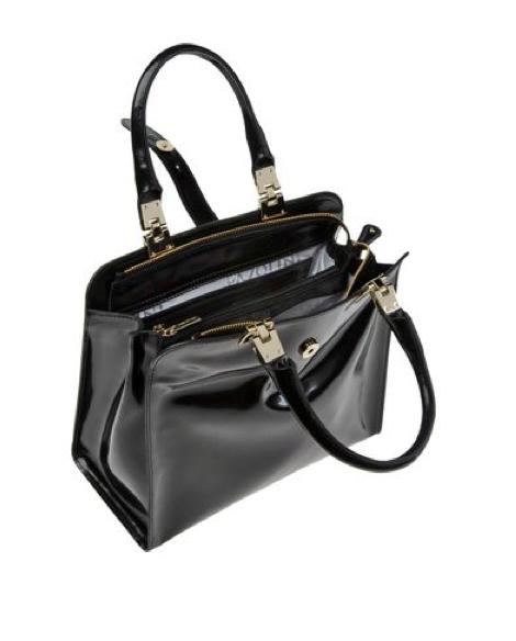 Details Handbags Medium Polished Leather Solid Color No Liqués Zip Closure Double Handle Lined Interior Internal Pockets
