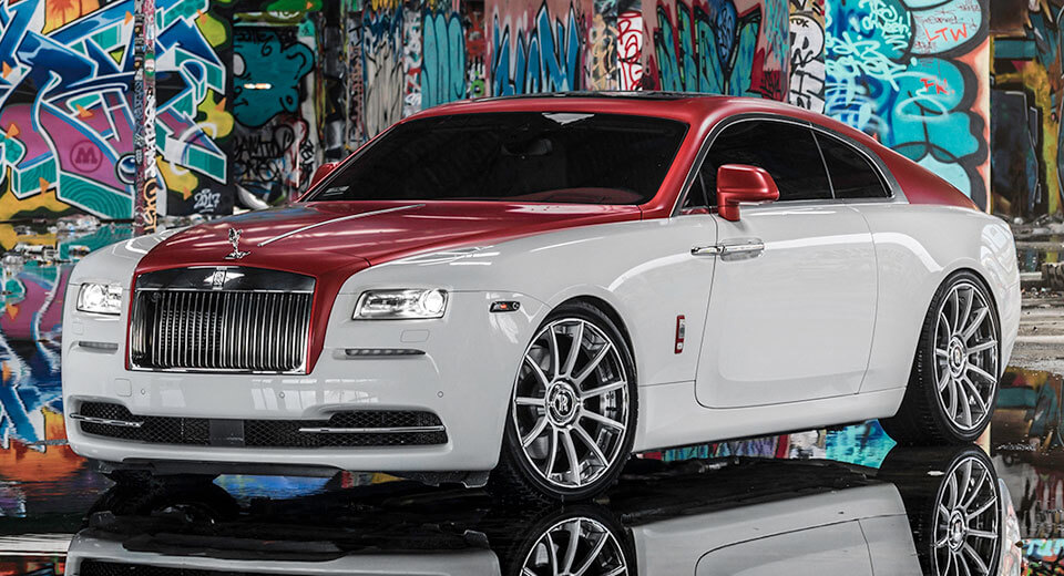 rolls royce wraith dips in candy apple red with forgiato. Black Bedroom Furniture Sets. Home Design Ideas