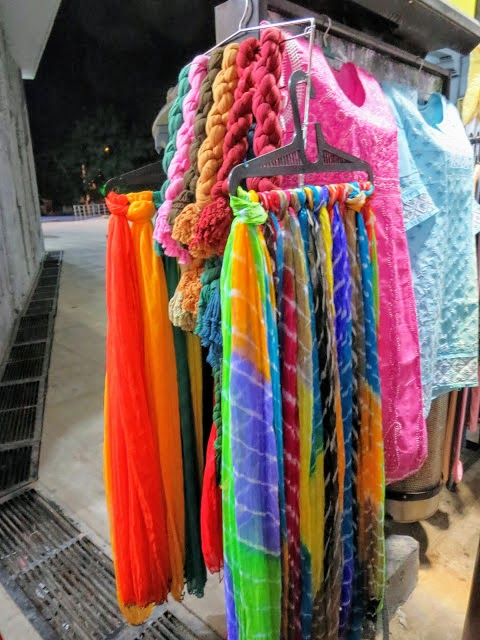 Where to Shop in Hyderabad: colorful scarves at Shilparamam crafts market