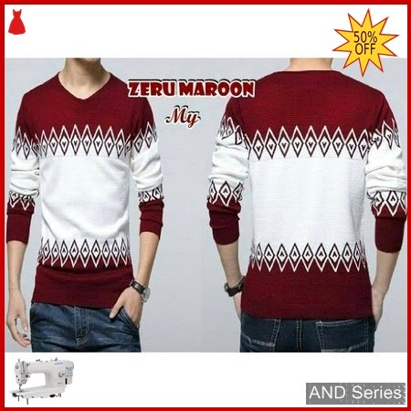 AND269 Sweater Pria Zeru Merah Maroon Tribal BMGShop