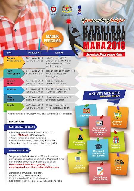 Jadual dan Lokasi Karnival Pendidikan MARA 2018