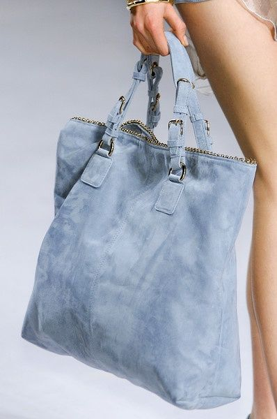Elie Saab suede tote bag in pale blue