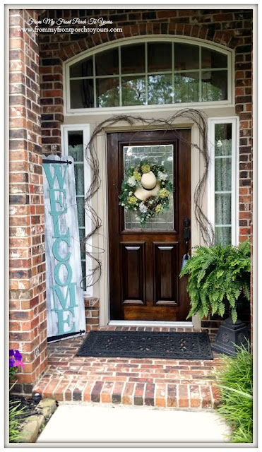 Front Porch-DIY Welcome Sign- Spring Wreath-Curb Appeal- From My Front Porch To Yours