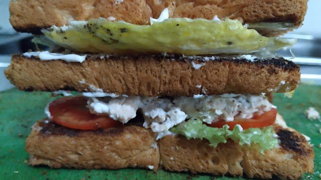 Three layer of bread Non Veg club sandwich Food Recipe Dinner ideas
