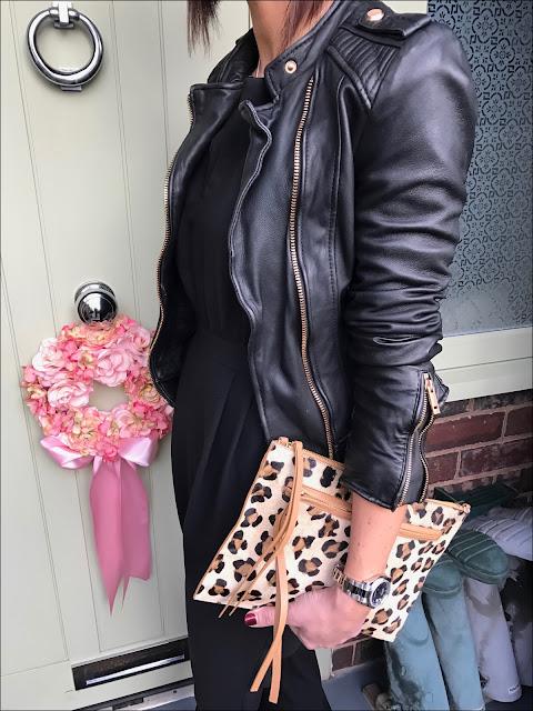 My Midlife Fashion, Zara leather biker jacket, boden studded pointed flat shoes, village england thurlaston, great plains tuxedo jumpsuit