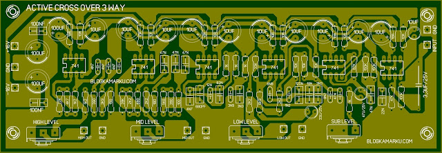 Layout PCB Cross Over 3 way dengan IC 741