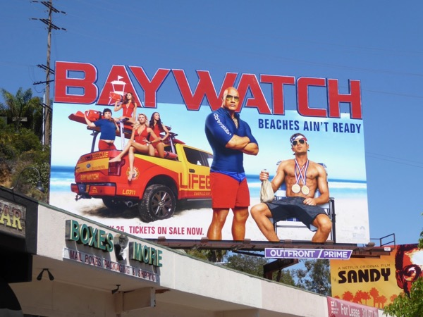 Baywatch movie lettering special extension billboard