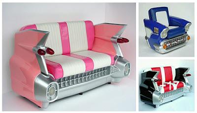 Sillones hechos con partes de carros reciclados