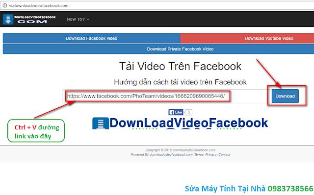Paste đường link vào website http://vi.downloadvideofacebook.com