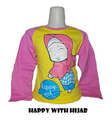 Kaos Raglan Anak Muslim Happy With Hijab 2 Kuning
