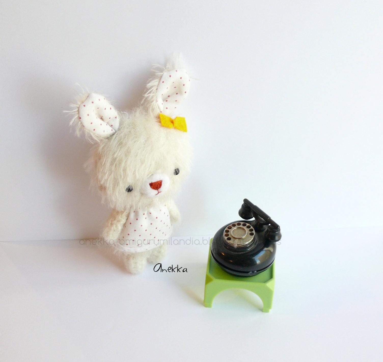 conejo peluche de mohair anekka handmade