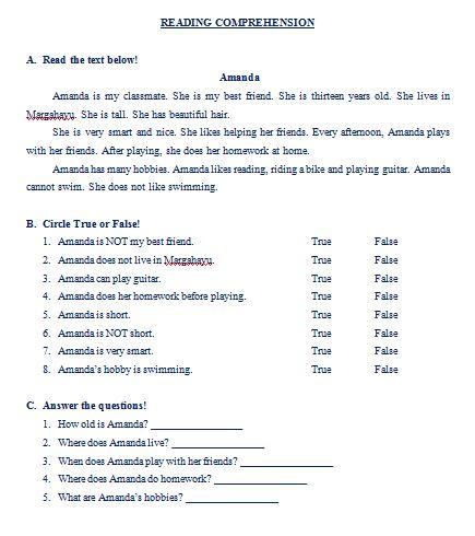 """Materi Bahasa Inggris untuk Anak Level 2 (Usia 9 - 11 Tahun): Reading Comprehension """"Amanda"""""""