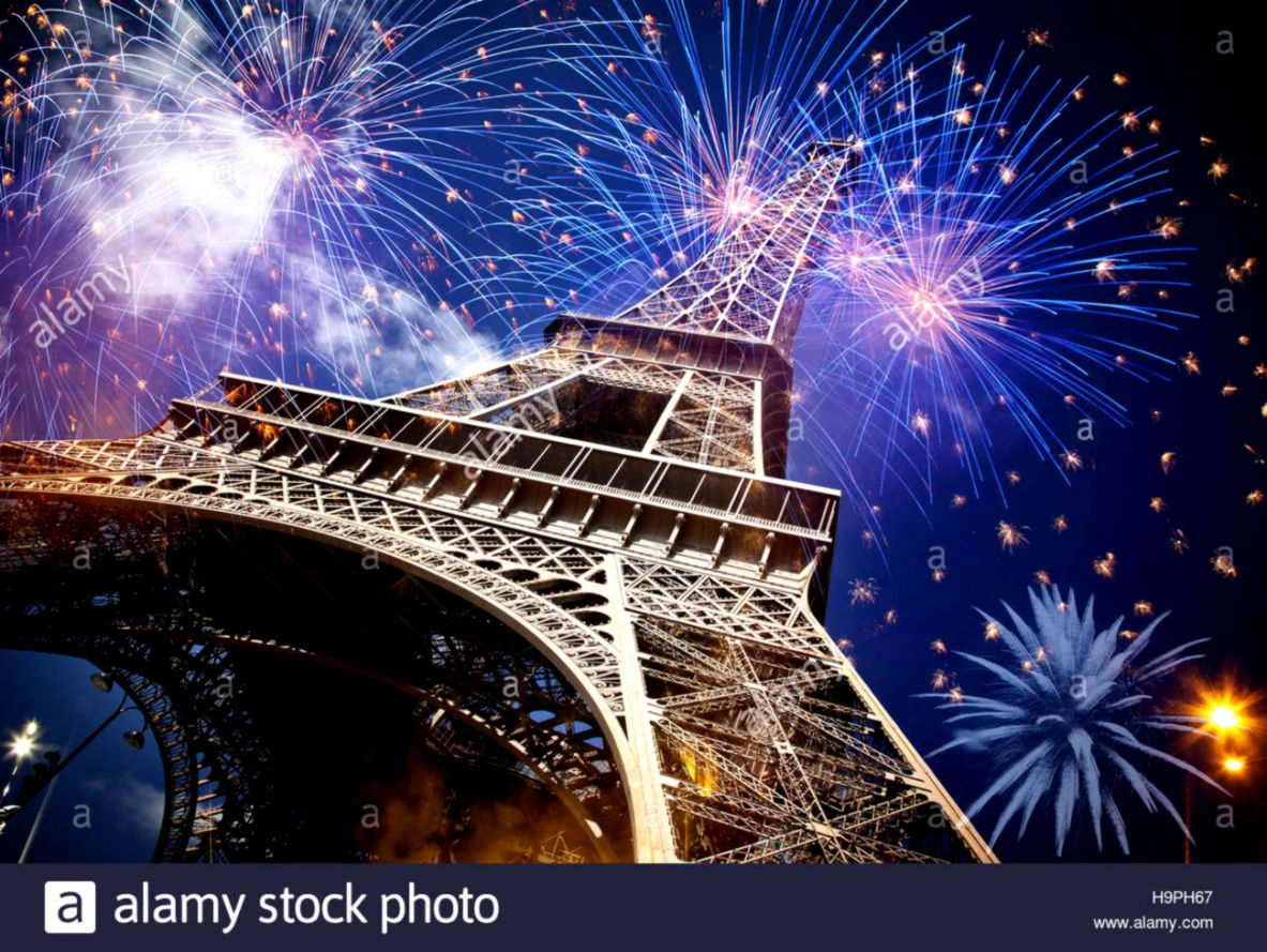 eiffel tower with fireworks celebration of the new year in paris