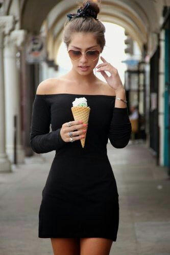 Off Shoulder min Black Dress