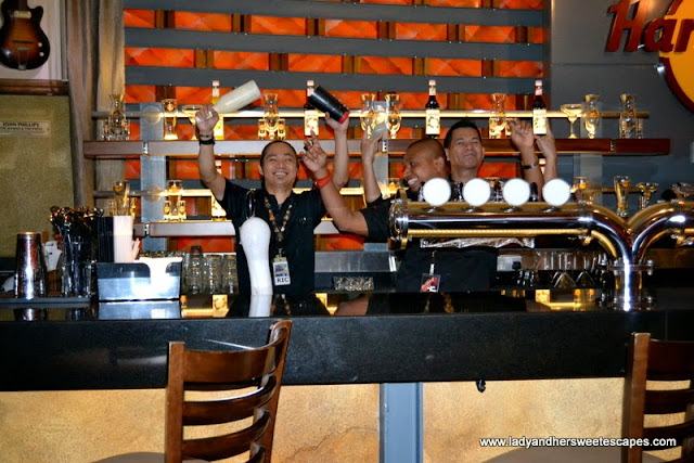 Happy wait staff at Hard Rock Cafe