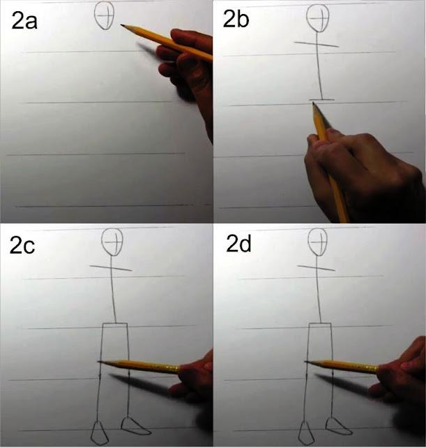 cara menggambar manusia tahap 2