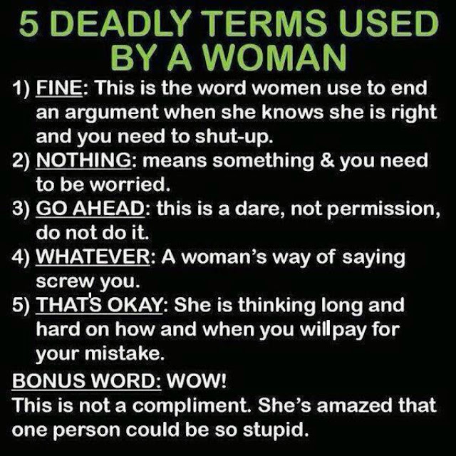 Funny 5 Deadly Terms Used By A Woman List Joke Picture