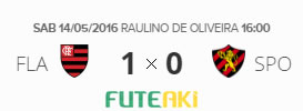 O placar de Flamengo 1x0 Sport pela 1ª rodada do Brasileirão 2016